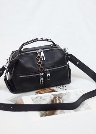 Женская кожаная сумка бочонок через на плечо polina & eiterou полина жіноча шкіряна