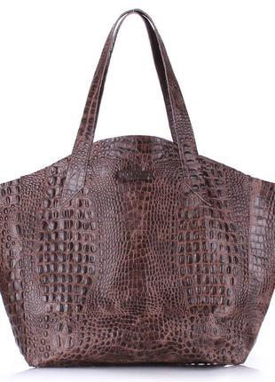 Модная кожаная сумка коричневая