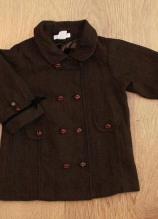 Пальто демисезонное в английском стиле h&m на 9-12 мес. шерсть + вискоза