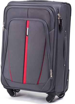 Тканевый чемодан wings на 4 колеса серый ручная кладь