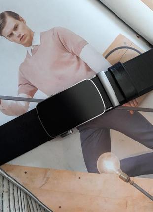 Ремень мужской кожаный автомат черный