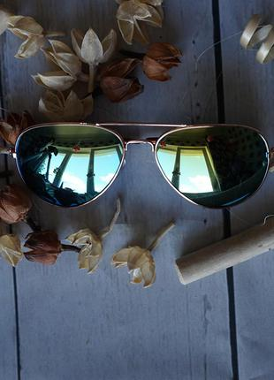Очки солнцезащитные авиатор , оправа золото