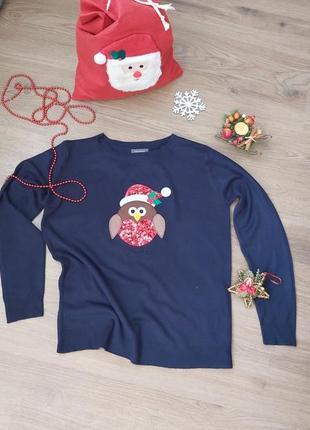 💖 новорічний светр з кумедний принтом               ✔розмір м - л.