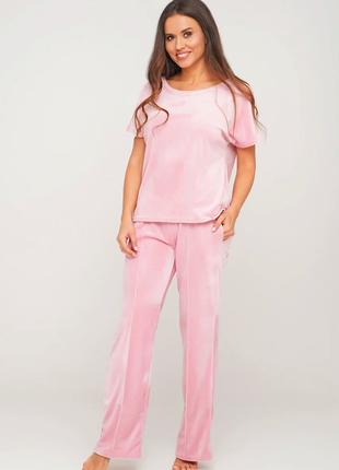 Женский велюровый домашний костюм: штаны и футболка 42 -44-46 размер