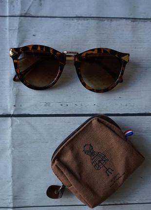 Очки солнцезащитныее, оправа леопард, стекла коричневые