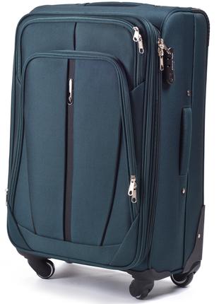 Тканевый чемодан на 4 колеса темно-зеленый