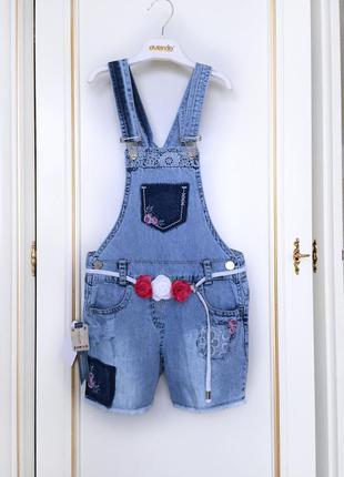 Комбинезон шорты джинсовый вышивка кружево бахрома overdo 5-6-7л 110-122 пояс с розами