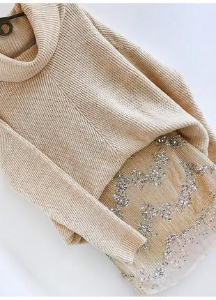 Роскошная нюдовая двухслойная юбка расшитая бисером и пайетками от h&m