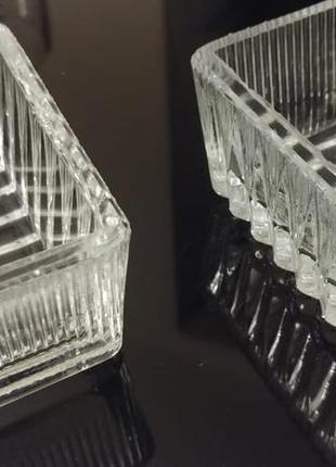 Набор из 2 хрустальных креманок - икорниц винтаж ссср