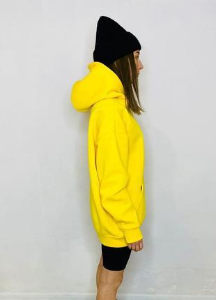 Худи оверсайз с капюшоном, желтый, на флисе, реглан, свитшот, толстовка, спортивная кофта