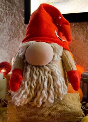 Новорічний декор гномик червоний м'яка іграшка