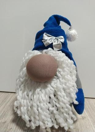 Новорічний декор гномик синій м'яка іграшка