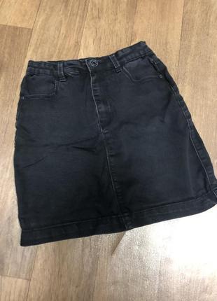 Юбка джинсовая чёрная крутая