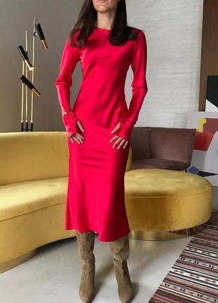 Шикарное шелковое платье по фигурке с поясом