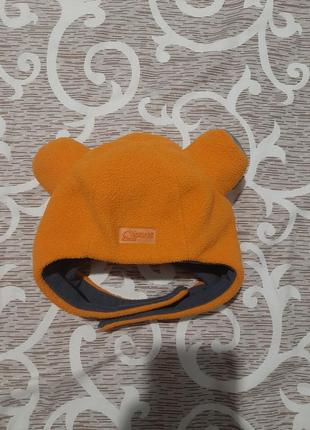 Шапка шлем с рожками флис