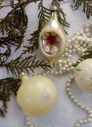 Шары фонарик набор елочных игрушек ссср советские стеклянные винтаж