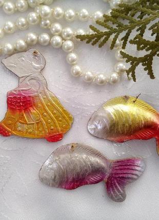 Картонажные елочные игрушки ссср советские старинные редкие набор новогодних