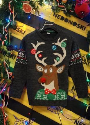 Новогодний рождественский праздничный свитер 3-d олень