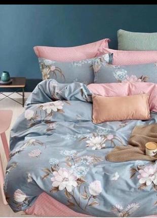 Комплект постельного белья розово-голубой с цветами, 100% хлопок