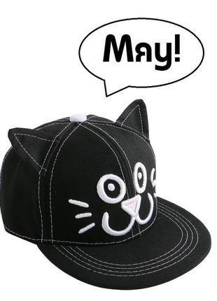 ▶ кепка / бейсболка черная с ушами ꮶот (объем головы 48-53)