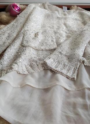 Свитер белый пайетка с пайетками кофта блузка