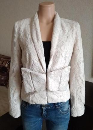 Винтажный гипюровый пиджак нежный пудровый жакет1 фото