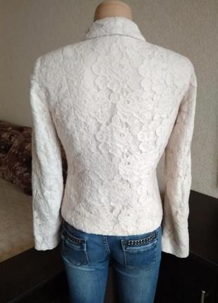 Винтажный гипюровый пиджак нежный пудровый жакет2 фото