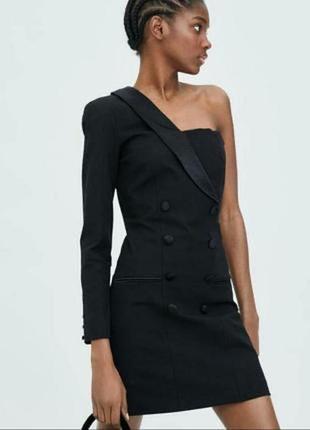 Платье пиджак, платье смокинг на одно плечо zara, асимметричное