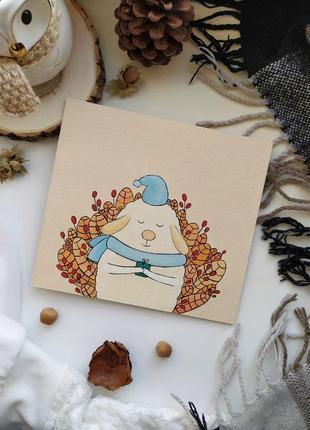 Картина открытка подарочная маслом овечка на новый год