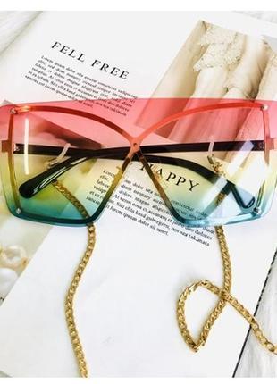 Летние стильные радужные очки, золотая оправа, 3 цвета, аксессуар