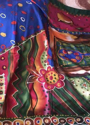 Шелковый платок 85*85 см зеленый большой разноцветный