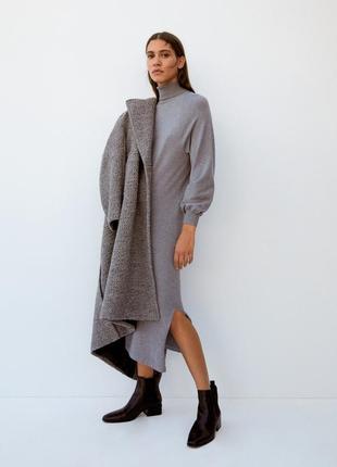 Тёплое базовое платье-гольф mango basic xs-s