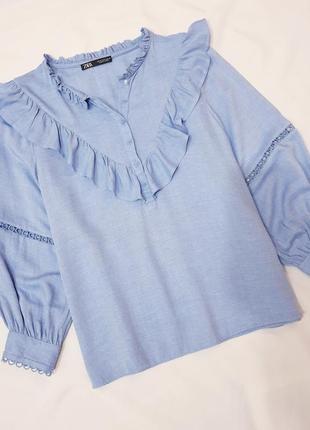 Zara блуза блузка рубашка сорочка кружево воланы рюши рукава буфы