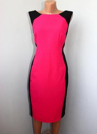 Платье футляр малиновое с черными боковинами, вьетнам, 14/42 (3694)