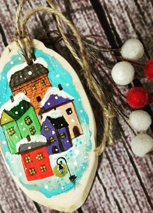 Интерьерное украшение, ёлочная игрушка, ручная роспись