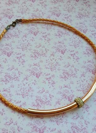 Чокер ожерелье колье шарм золот шнур hand made
