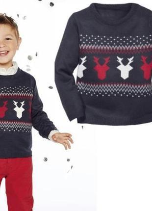 Новогодний свитер с оленями, с орнаментом джемпер рождественский для фотосессии
