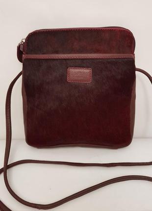 Суперроскошная кожаная сумочка crossbody osprey london красивннный винный цвет