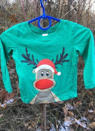 Новогодняя кофта лонгслив футболка с оленем