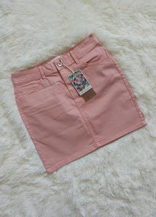 Персиковая однотонная юбка