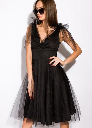 Чёрное фатиновое нарядное платье 👗