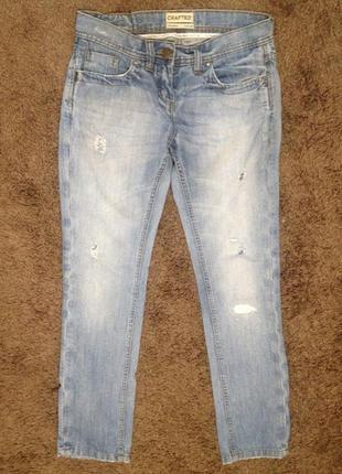 Узкие джинсы, 30р, с потертостями и порванностями, джинс плотный, 100% хлопок
