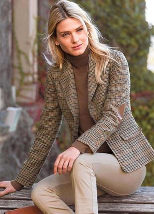 Пиджак твидовый шерстяной zara,с налокотниками, s размер