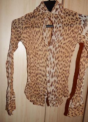 Шелковая блуза с леопардовым принтом