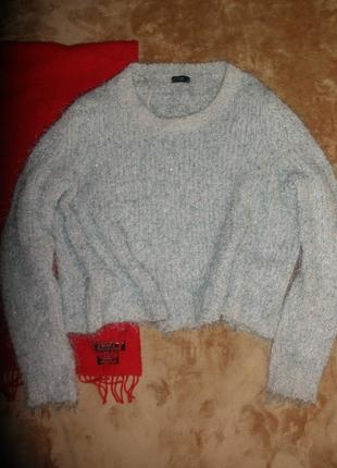 Красивый уютный теплый свободный свитер кофта джемпер пуловер травка f&f