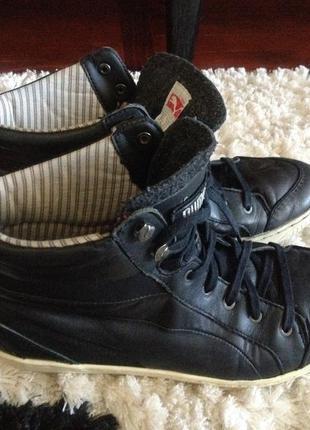 Высокие кожаные ботинки кеды хайтопы сникерсы puma