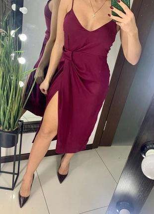 👗бордовое платье миди декольте/сатиновое платье цвета марсала/платье с разрезом сатин👗
