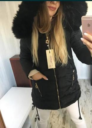 Куртка  парка qq25 чорна стьобана ,зимове утеплене хутро xxl