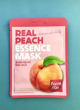 Тканевая маска с экстрактом персика farmstay peach real essence mask