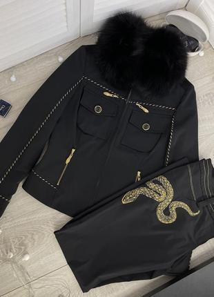 Утепленный черный костюм gizia змея с мехом куртка брюки штаны теплый костюм зима италия